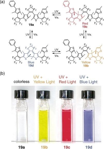 Photochromic reactions of fused trimer 19 and the color changes upon irradiation with the appropriate wavelength of light.
