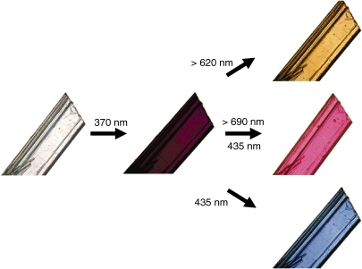 Color changes of a three-component crystal containing diarylethene 11a, 10a and 20a upon irradiation with the appropriate wavelength of light.