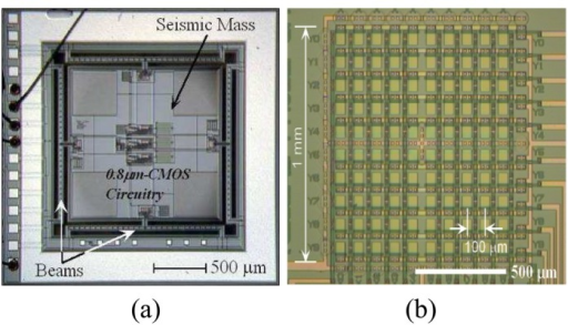 Examples of CMOS-integrated microsensors developed by our research group, (a) CMOS-integrated three-axis accelerometer [6], (b) Nerve potential sensor array [7].