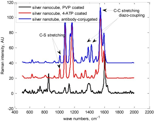 Raman spectra of Ag nanocube with antibodies conjugated to them.