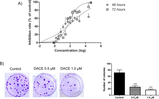 Cell and clonogenic growth inhibition by DACE.(A) Human non-small cell lung cancer cells (A549 cells) were treated with different concentrations of the DACE for 48h and 72h. The growth inhibition effects were determined by MTT assay and the IC50 was calculated by GraphPad Prism 5 software through a nonlinear fit-curve (log of compound concentration versus normalized response—variable slope). (B) A549 cells were treated with 0.5 and 1 μM of the DACE for 48h, followed by two washes for compound removal. Then, cells were plated for clonogenic assay; left—representative images of colonies formed from A549 cells under the different treatment conditions; right—number of colonies after 12 days. ***p<0.001 as compared with control.