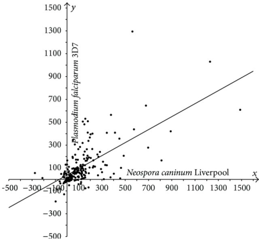 Plot of protein length extensions in N. caninum Liverpool versus P. falciparum 3D7 relative to their orthologs in Synechocystis sp. PCC 6803. Differences in lengths between sporozoan and cyanobacterial orthologous proteins are plotted as follows: N-S on the x-axis, P-S on the y-axis.