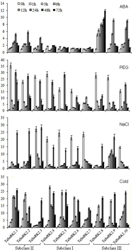 Expression patterns of TaSnRK2s in response to ABA, PEG, NaCl, and cold treatments.Tubulin was used as an internal control. The expression of TaSnRK2s at 0 h was regarded as the standard. Values are mean ± SD (n = 3).