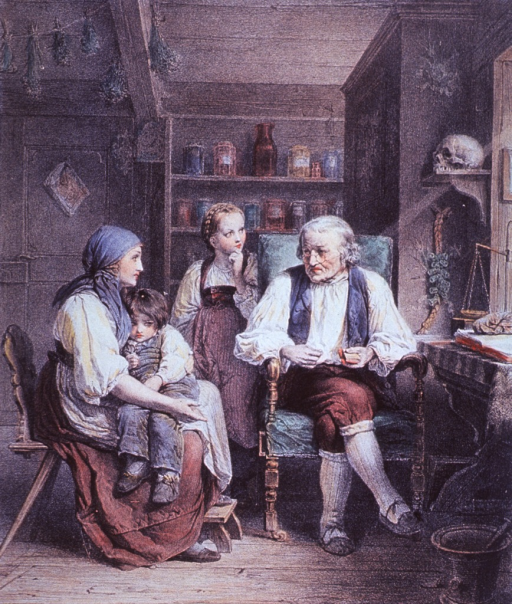<p>A mother is sitting in a chair holding her son on her lap; a physician sits to the right; the woman's daughter stands at the right shoulder of the physician. Ranged about the room are herbs hung to dry, shelves with bottles and jars, and a human skull.</p>