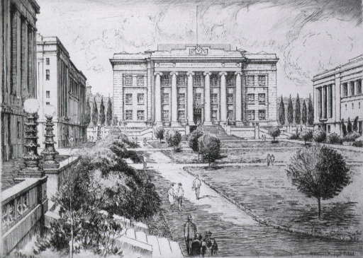 <p>Exterior view: buildings around quadrangle; focus is on the building with columns at the end of the quad.</p>