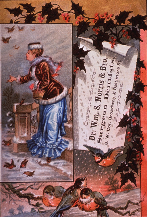<p>Trade card for Willima S. Norris &amp; Bro., surgeon dentists of Baltimore.  Showing one of the seasons (winter, spring, or summer).</p>