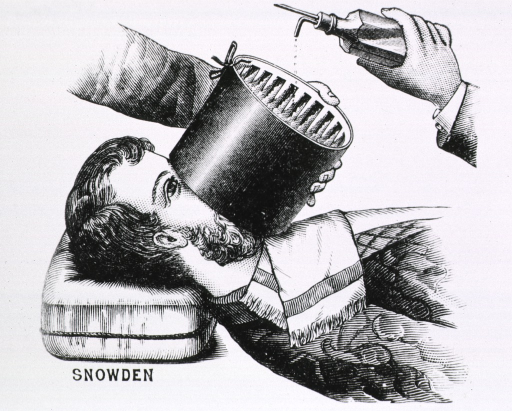 <p>A circular apparatus, slotted to accept a weave of fabric and fitted with an outer covering, is placed over a reclining patient's nose and mouth; ether is being admininstered from a bottle, a few drops at a time onto the fabric.</p>