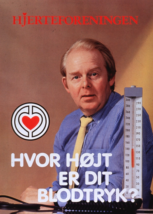 <p>Predominantly tan poster with red and white lettering.  Publisher name at top of poster.  Visual image is a reproduction of a color photo of a man and a desktop-style blood pressure device (i.e., sphygmomanometer).  Title and publisher logo superimposed on lower portion of photo.</p>
