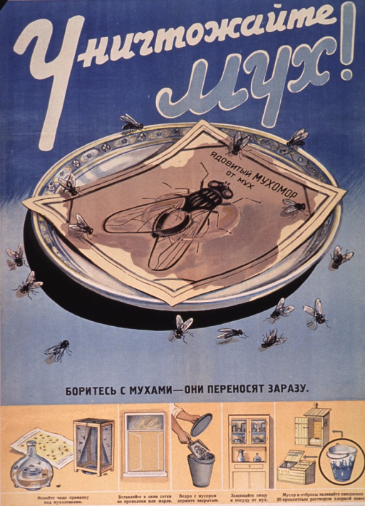 <p>Predominantly blue and yellow poster with multicolor lettering.  All lettering in Cyrillic script.  Title at top of poster.  Dominant visual image is an illustration of a plate surrounded by flies.  A leaflet about flies sits on the plate.  Caption below illustration urges fighting flies as they transmit disease.  Smaller illustrations near bottom of poster depict methods of controlling flies including covering drains and windows with screens, discarding trash and other waste properly, and keeping food and dishes covered.  Publisher information at bottom of poster.</p>