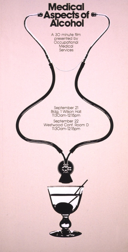 <p>The poster shows a stethoscope leading to a martini glass with the printed information placed within the curves formed by the rubber tubing.</p>
