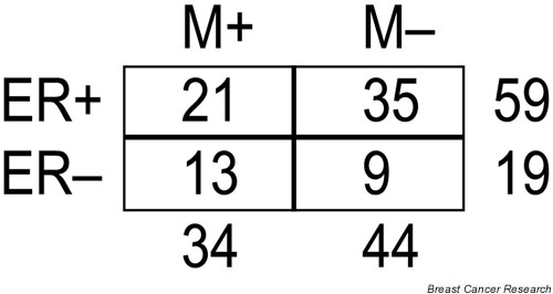 The distribution of clinical characteristics of the 78 sporadic breast tumors used in the training/validation set in the study by van 't Veer et al. [7]. Estrogen receptor-α status is denoted as ER+ and ER-. Clinical outcome for the patients is represented by M+ (distant recurrences within 5 years) and M- (no recurrences within a follow-up period of at least 5 years).