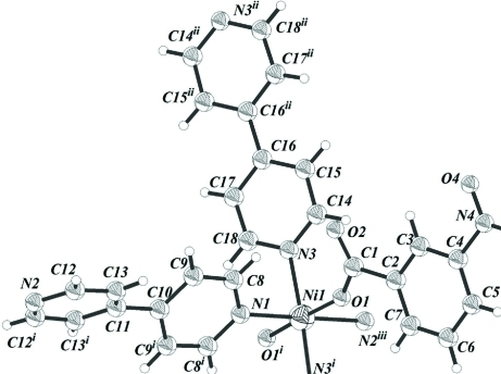 Part of polymeric structure of the title compound, showing 50% probability displacement ellipsoids. [symmetry codes: (i) -x + 1, y, -z + 5/2; (ii) -x + 1/2, -y + 5/2, -z + 2; (iii) x, y - 1, z].
