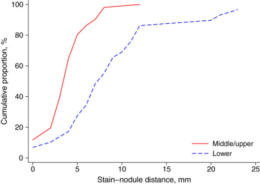 Cumulative distributions of stain-lesion distance for lesions on middle/upper versus those on lower lobes.
