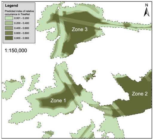 A prediction model map of Hooded Crane daytime resting sites in the study area.