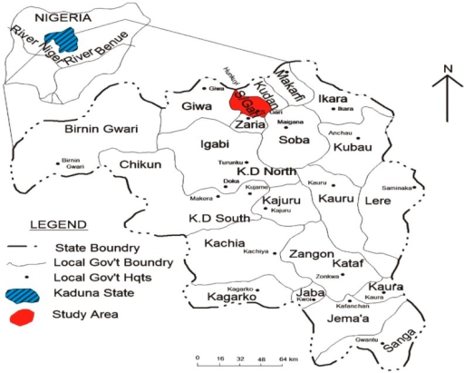 Map Of Kaduna State Of Nigeria Showing The Study Area In Sabon Gari Local Government
