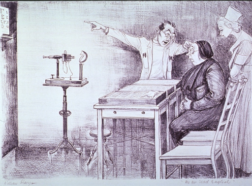 <p>Interior view of ophthalmologist's office:  A woman is having her eyes tested; she looks at the eye chart hopelessly, as the oculist gestures at it.  An assistant stands behind the woman.</p>