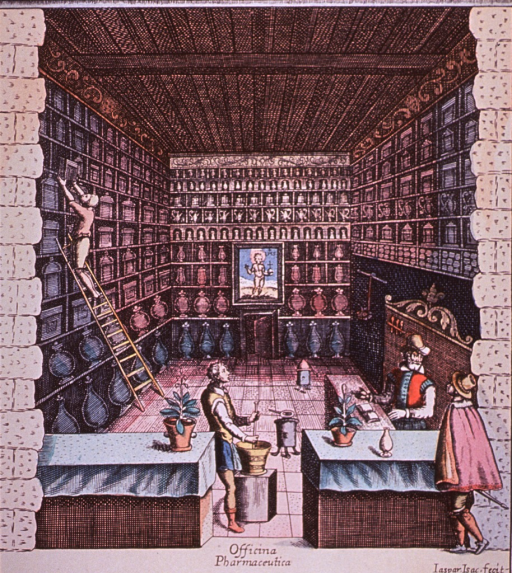 <p>Interior view of pharmacy, ca. 1608, showing a customer, prescriptions being prepared, and a man on a ladder removing something from a high shelf.</p>