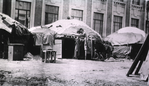 <p>A view of attendants quarters next to a German Red Cross Hospital.</p>