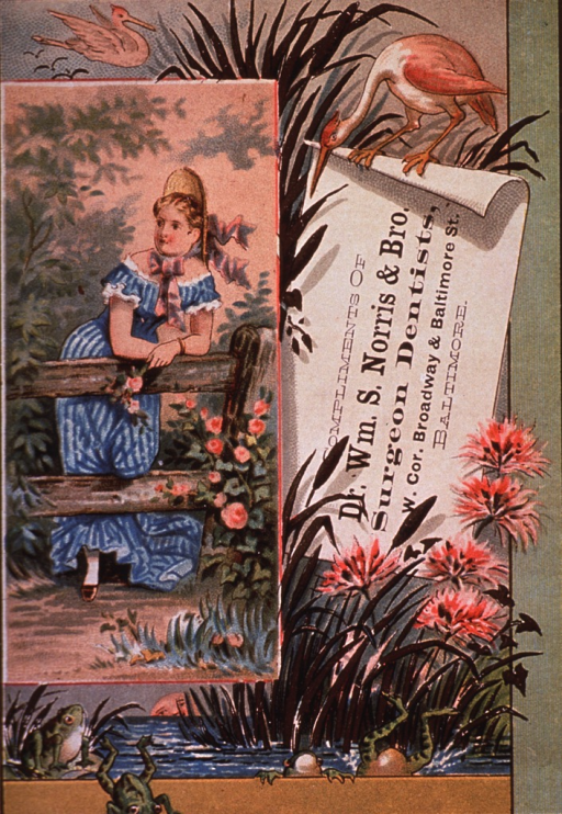 <p>Trade card for William S. Norris &amp; Bro., surgeon dentists of Baltimore.  Showing one of the seasons (winter, spring, or summer).</p>