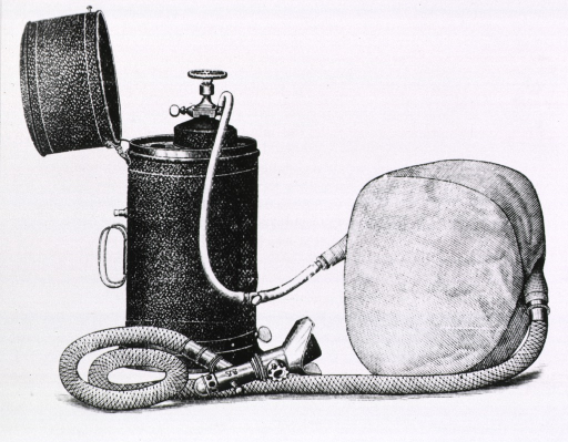 <p>A cylindrical case with hinged lid containing a cylinder of gas which is attached to a gasbag by tubing. A device for inhalation is also attached to the gasbag.</p>