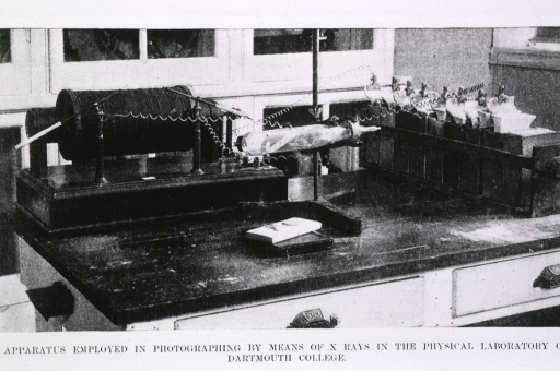 <p>Interior view of the Physics Laboratory at Dartmouth, showing apparatus used for X-ray photography.</p>