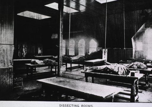<p>Interior of dissection room, Baltimore College of Physicians and Surgeons.</p>