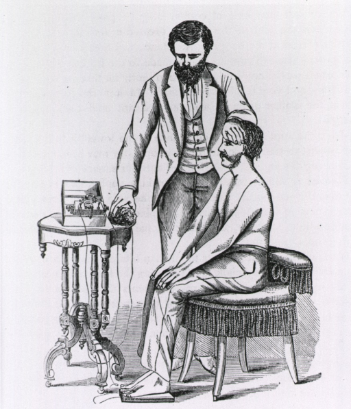 <p>A male patient sits in a chair with his feet on a peddle while an operator (the physician?) uses himself as the conductor for the electrical current passing from the machine through to the patient.</p>