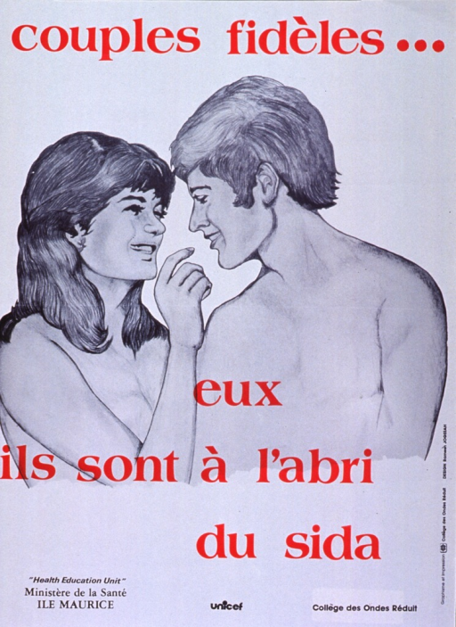 <p>White poster with red and black lettering.  Initial title words at top of poster.  Visual image is an illustration of a man and woman, both shirtless, in an intimate embrace.  Remaining title words appear directly below illustration.  Publisher, sponsor, and printer listed at bottom of poster.</p>
