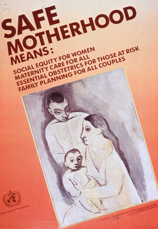 <p>Predominantly orange poster with brown lettering.  Title at top of poster.  Visual image is a reproduction of Picasso's painting &quot;Man, woman and child.&quot;  The three-member family appears with the father standing behind the mother, who is seated with the child on her lap.  Caption below painting.  Publisher information in lower left corner.</p>