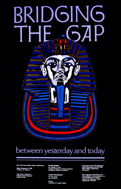 <p>The center of the poster shows an Egyptian pharaoh's head.  The head covering is in blue and gold, the breastplate in blue and red.  Information is given about the keynote speaker and the entertainment.</p>