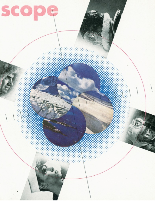 <p>Magazine cover of Scope designed by an unknown graphic designer. Cover depicts a circle drawn in a thin red outline. In the middle of the circle are four circles of black &amp; white photographs which show various scenes, clouds, desert terrain, ocean with reefs, and a rocky terrain. Behind the photographs are blue and white dots in a circular formation. A thin black line bisects vertically through all the circles. Running horizontally through the circular images are short thin black lines evenly spaced across the page. There are four black &amp; white photographs placed clock-wise around the circle showing images of unidentified men's head profiles: two are wearing aviation helmets, one is wearing a sailor hat, and one is wearing a hooded fur trimmed parka.</p>