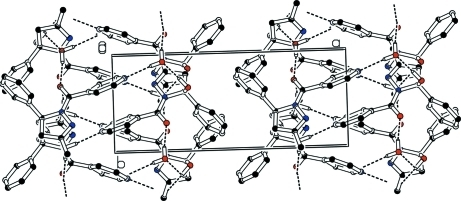 The packing of the compound viewed along the c-axis showing 1-D extended chains along the b-axis through hydrogen bonds. All H atoms removed except those involved in the hydrogen bonds. Hydrogen bonds are shown as dashed lines.