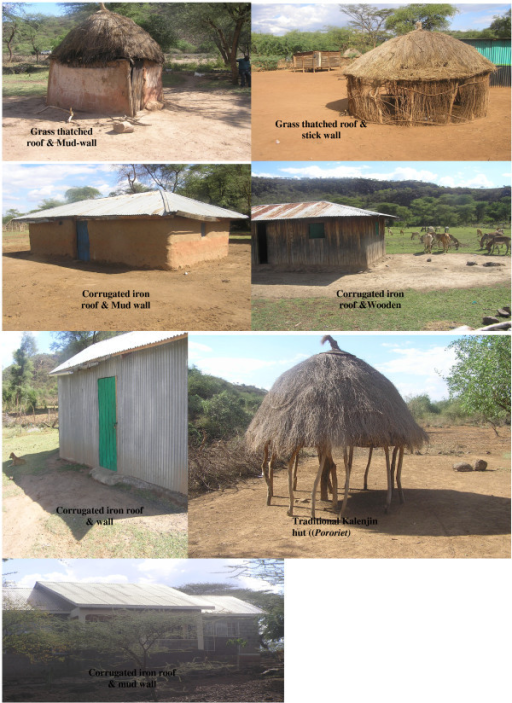 House types two rural villages in a semi arid area in b for Types of houses in kenya