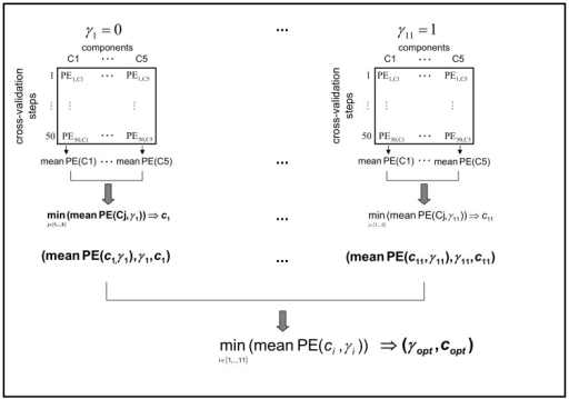 Extension of PPLS-DA - for stepsize  and .The power parameter is denoted by , the prediction error (number of wrongly classified samples of the inner test set) is abbreviated with PE.  varied in 11 steps (). Cj, j = 15 is short for the jth component. The function min(f) takes the minimum of function . The cross-validation procedures consist of random samples of the outer training set to the proportions of 0.7 (training set) and 0.3 (test set). The cross-validation steps are conform to sampling with replacement. The optimal -value and the optimal number of components are determined after 50 repeats.
