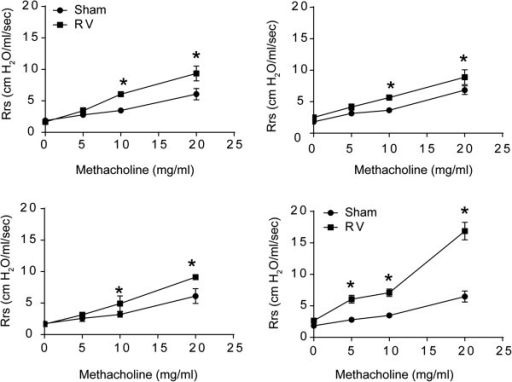 Airways responsiveness to methacholine challenge following RV infection. RA, CS, HK-NTHi or CS/HK-NTHi-exposed mice were either infected with RV or equal volume of sham. Four days later, total respiratory system resistance was measured by plethysmography. Data represent mean ± SEM from 3 mice per group (* different from respective sham-infected animals, p ≤ 0.05, two-way ANOVA).
