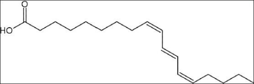 Chemical structure of punicic acid (9Z,11E,13Z-octadeca- 9,11,13-trienoic acid)