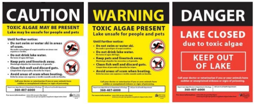 Advisory signs used in Washington's Freshwater Algae Control Program.