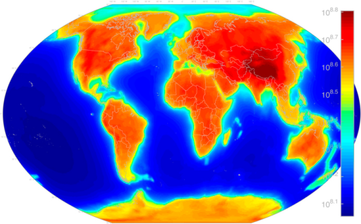 AGM2015 geoneutrino flux due to 238U and 232Th decay in the Earth's crust and mantle.Flux units are  at the Earth's surface. Map includes  of all energies. Figure created with MATLAB45.