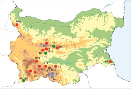 Sampling sites used in the present study (red dots) and in phylogenetic analyses (blue dots: Falniowski et al. 2009a; green dots: Falniowski et al 2012). Compare with Table 1. The dotted line indicates an area that was searched but where no Bythinella sites were found.