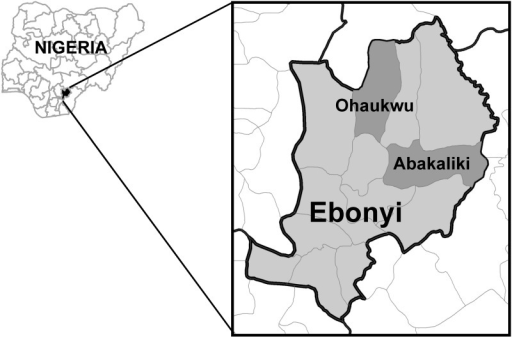 Map of the survey area.Map highlights Ebonyi State in southeast Nigeria, and the Local Government Areas of Ohaukwu and Abakaliki, where the November 2011 survey was conducted.