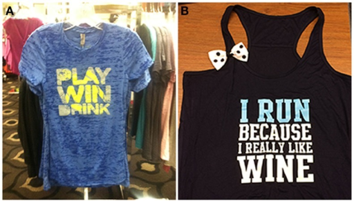 The celebration motive (A) and body image motive (B) are illustrated by these items of clothing.
