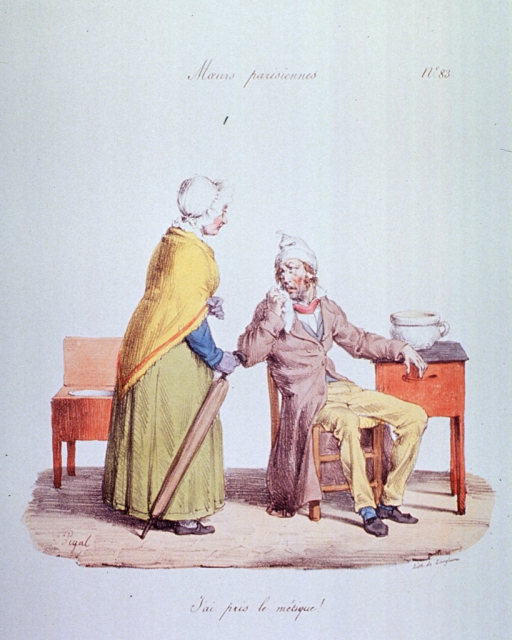 <p>Caricature:  A man is sitting in a chair suffering from the flu; a woman stands next to him, she is holding an umbrella.  In the corner is a chair with a chamber pot attached.</p>