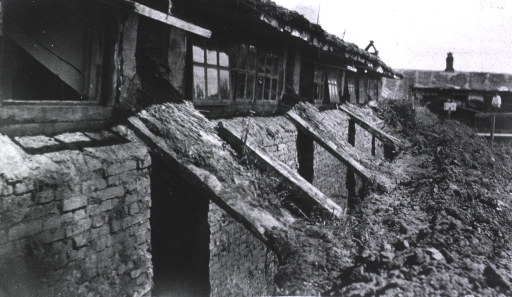 <p>A view of hospital construction of a sod building at Military Mobile Hospital No. 75.</p>