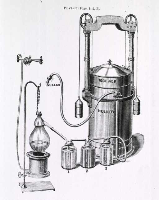 <p>An apparatus that is used for purifying gas in the preparation of nitrous oxide gas. This involves a series of bottles for agitating and washing the gas; these bottles are connected to a tank by tube, as is a nozzle for inhalation of the purified gas.</p>