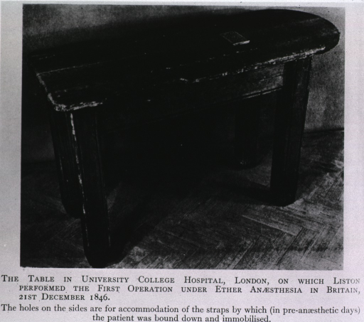 <p>The table in University College Hospital, London, on which Lisbon performed the first operation under ether anesthesia in Britian, 21, December, 1846.</p>