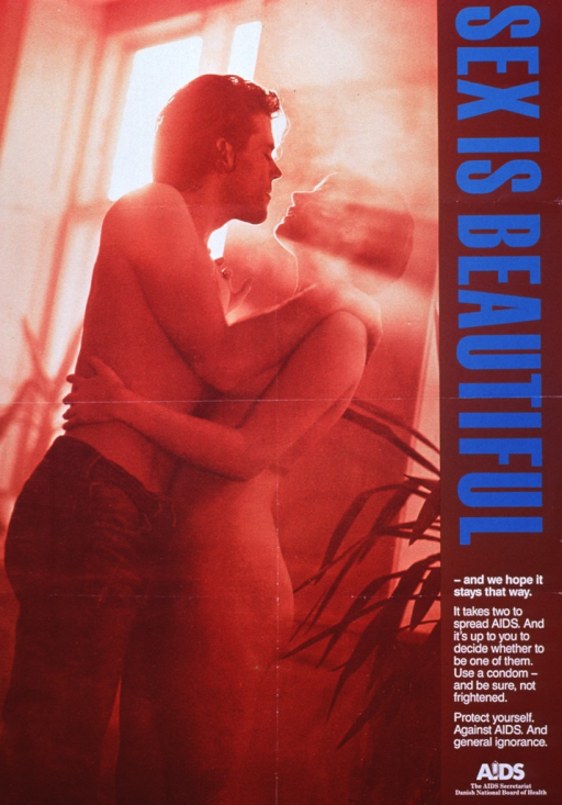 <p>Brown poster with blue and white lettering.  All textual information on right side of poster.  Visual image on left side is a reproduction of a photo.  In the photo, a partially dressed man and a naked woman embrace as light streams in the window.</p>