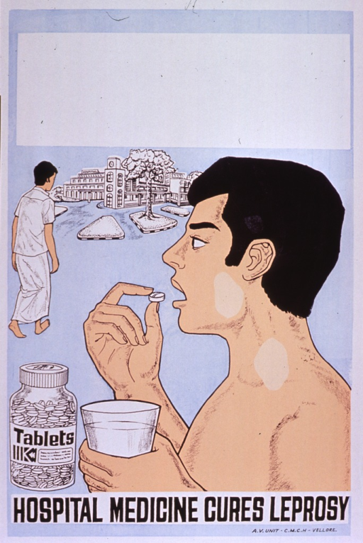 <p>Predominantly light blue poster with black lettering.  Blank box at top of poster, as if for contact information, though none is provided.  Visual images are illustrations of a man taking a pill, a pill bottle, and a man walking toward a building.  Title at bottom of poster.  Publisher information in lower right corner.</p>