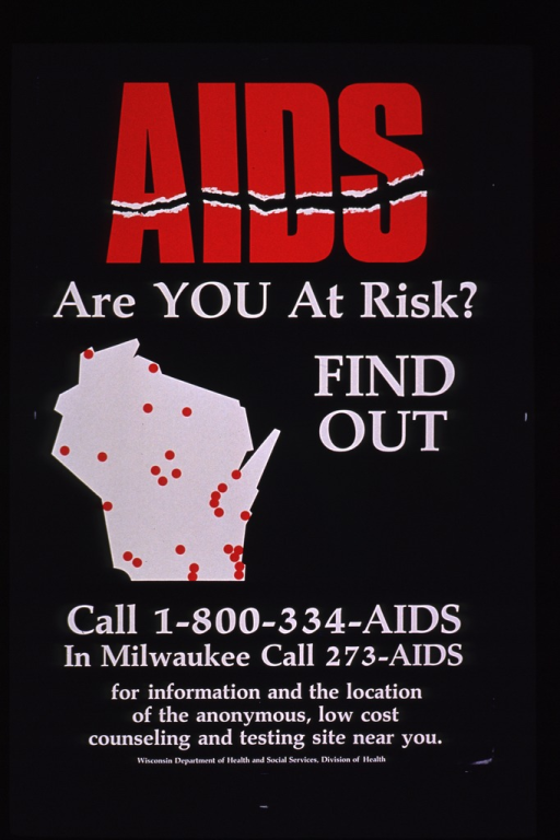 <p>Blue poster with the print in red and white. The visual consists of the shape of Wisconsin in white with red dots spread over the area.</p>