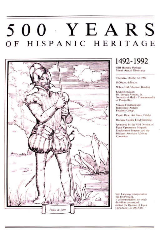 <p>The picture shows Ponce de Leon standing with a staff in his hand.  Behind him is a ship.  Information is given about the keynote speaker and the entertainment.</p>