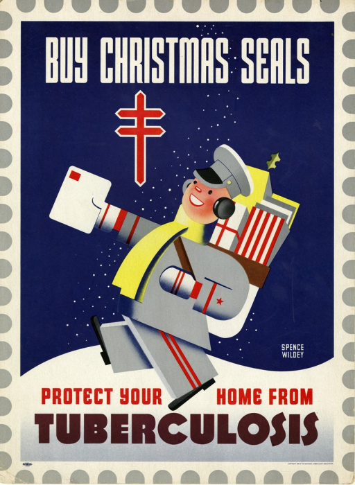 <p>Navy blue and white poster with multicolor lettering.  Initial title words at top of poster.  Double-barred cross below title words.  Dominant visual image is an illustration of a letter carrier walking through the snow.  He holds a letter in one hand and his mail bag is filled with packages and gifts.  Remaining title words below carrier's feet.</p>